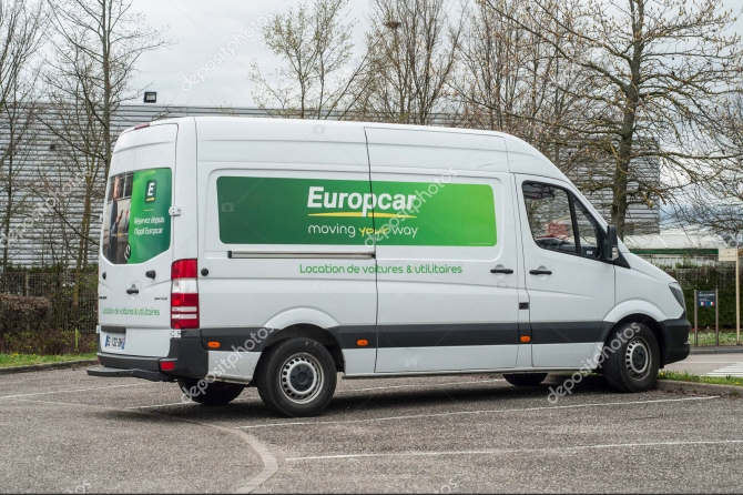 Mulhouse - France - 10 April 2018 - Europcar truck parked, europ